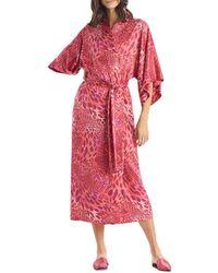 Natori Animal Print Long Satin Robe - Pink
