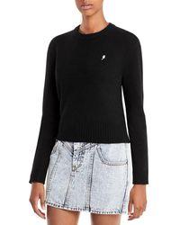 Aqua Cashmere Embroidered Lightning Cashmere Jumper - Black