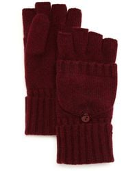 C By Bloomingdale's Pop Top Cashmere Mittens - Red