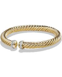 David Yurman - Cable Spira Bracelet With Diamonds In 18k Gold - Lyst