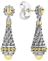 Lagos - 18k Yellow Gold & Sterling Silver Signature Caviar Drop Earrings - Lyst