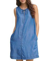 DKNY Chambray Shift Dress - Blue
