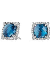 David Yurman - Châtelaine Pavé Bezel Stud Earrings With Hampton Blue Topaz And Diamonds - Lyst