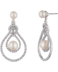 Carolee - Simulated Pearl & Pavé Drop Earrings - Lyst
