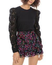 Generation Love Hedda Lace Puff Sleeve Top - Black