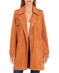 Bagatelle Bonded - Scuba Faux - Suede Trench Jacket - Orange
