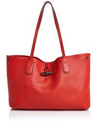 b49764613249 Lyst - Longchamp Shoulder Bag Roseau Croc Embossed in Gray