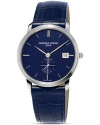Frederique Constant Slimline Quartz Stainless Steel & Leather Strap Watch - Blue