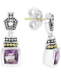 Lagos 18k Gold & Sterling Silver Caviar Colour Amethyst Drop Earrings - Metallic