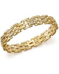 Bloomingdale's Diamond Brick Link Men's Bracelet In 14k Yellow Gold - Metallic