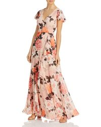 Eliza J Floral Print Ruffled Dress - Pink