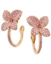 Pasquale Bruni 18k Rose Gold Petit Garden Pink Sapphire Hoop Earrings