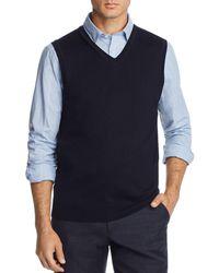 Bloomingdale's V - Neck Merino Wool Vest - Blue