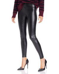 Aqua High - Rise Faux Leather Leggings - Black