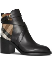 Burberry Pryle Check And Leather Booties - Black