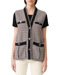 Maje Sleeveless Lurex Tweed-style Jacket - Black
