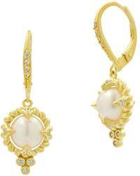 Freida Rothman - Cultured Freshwater Pearl Textured Drop Earrings - Lyst
