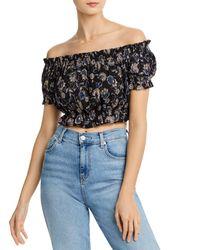 Aqua Off - The - Shoulder Floral Cropped Top - Black