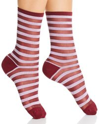 Kate Spade Metallic Stripe Socks - Red