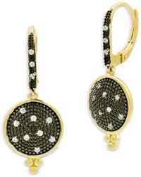 Freida Rothman Signature Pavé Disc Drop Earrings - Multicolour