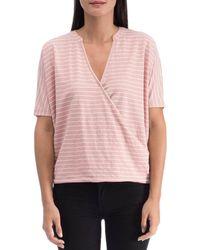 B Collection By Bobeau Ila Striped Surplice Top - Pink