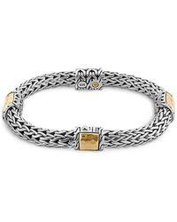 John Hardy - Sterling Silver And 18k Bonded Gold Palu Four Station Bracelet - Lyst