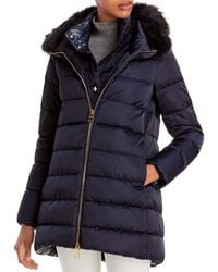 Herno Faux Fur Trimmed Down Puffer Coat - Blue