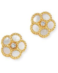 Roberto Coin 18k Yellow Gold Daisy Mother - Of - Pearl & Diamond Stud Earrings - Metallic
