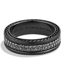 David Yurman - Streamline Two-Row Black Diamond Band Ring - Lyst