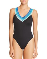 Kenneth Cole V-neck One Piece Swimsuit - Blue