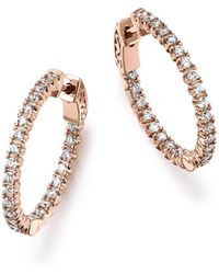 Bloomingdale's - Diamond Inside Out Hoop Earrings In 14k Rose Gold, 1.0 Ct. T.w. - Lyst