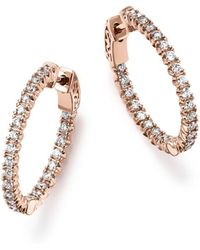 Bloomingdale's Diamond Inside Out Hoop Earrings In 14k Rose Gold - Multicolour