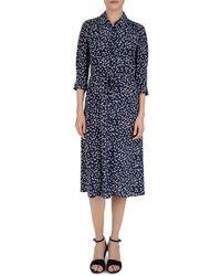 Gerard Darel Sander Abstract Print Silk Dress - Blue