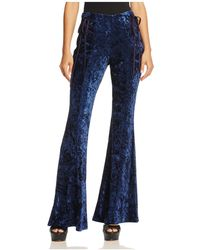Band Of Gypsies Crushed Velvet Flare Trousers - Blue