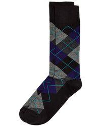 Bloomingdale's Striped Argyle Socks - Black