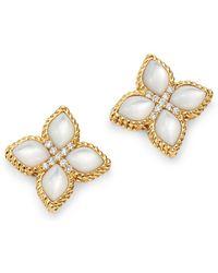 Roberto Coin - 18k Yellow Gold Venetian Princess Mother-of-pearl & Diamond Earrings - Lyst