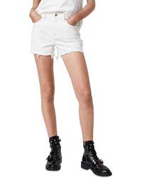 AllSaints Sandy Frayed Hem Denim Shorts In White