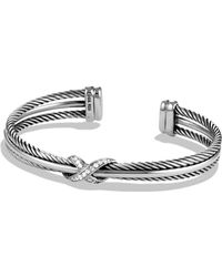 David Yurman - X Crossover Cuff With Diamonds - Lyst