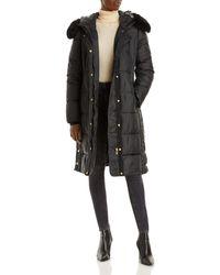 Via Spiga Faux Fur Trim Hooded Puffer Coat - Black