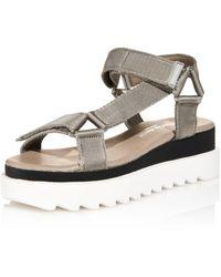 Charles David Women's Rikki Webbing Platform Sandals - Grey