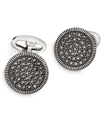 Jan Leslie Sterling Silver And Marcasite Coin - Edge Cufflinks - Brown