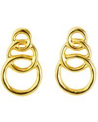 Uno De 50 - Gold Chain Graduated Loops Drop Earrings - Lyst