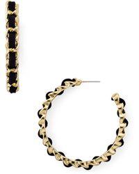 Aqua Woven Link Hoop Earrings - Multicolor