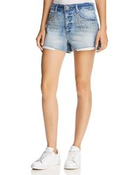 Pistola - Winston Embellished Cutoff Denim Shorts In Flashing Lights - Lyst