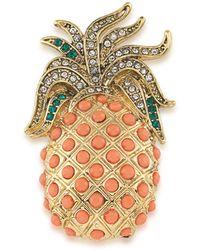 Carolee Gold-tone Pavé & Peach Stone Pineapple Pin - Metallic