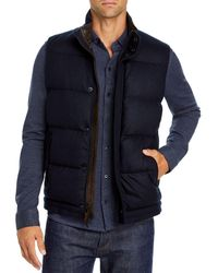 Vince Slim Fit Puffer Vest - Blue