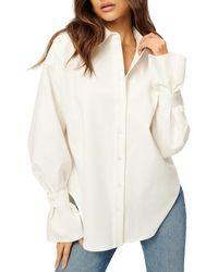 GOOD AMERICAN Tab Poplin Shirt - White