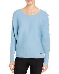 T Tahari - Button Sleeve Sweater - Lyst