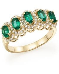 Bloomingdale's - Emerald And Diamond Statement Ring In 14k Yellow Gold - Lyst