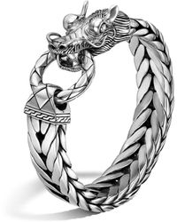 John Hardy Naga Silver Dragon Head Bracelet On Fishtail Chain - Metallic